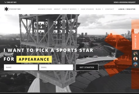 Pickstar website home page